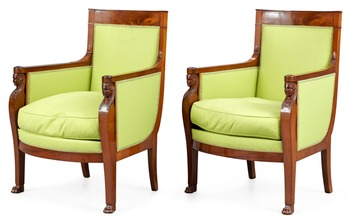 A pair of French Empire early 19th century bergeres.