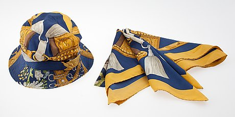 "A hermès silk scarf, ""aux champ""."