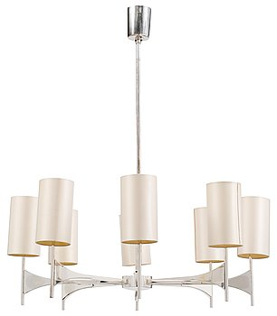 14. A silver plated eight light hanging lamp, 1960's.