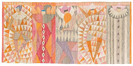 """Vävnad. """"karneval"""". gobelängvariant. 54 x 111 cm. signerad mr (marianne richter för ab märta måås-fjetterström)."""