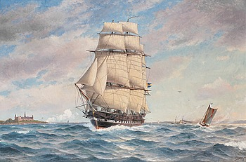 64. JACOB HÄGG, H.M.S. Norrköping off Kronborg Castle at Helsingör.