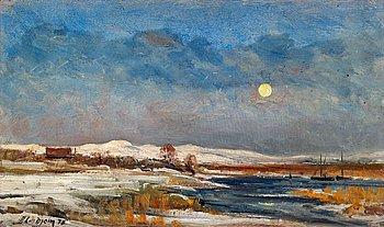 234. BERNDT LINDHOLM, Moonlit winter landscape.