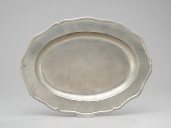 1. A Swedish Rococo pewter dish, by Olof Andersson Winberg, Gothenburg. 18th century.