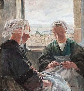 "34. CARL WILHELMSON, ""Flickor som lagar segel, Bretagne"" (Girls mending sails, Brittany)."