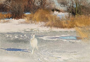 25. BRUNO LILJEFORS, Winter landscape with hare and hounds.