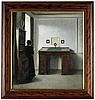 Vilhelm hammershöi, a writing table and a young woman in an interior.