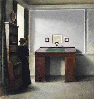 241. VILHELM HAMMERSHÖI, A writing table and a young woman in an interior.