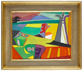 307. ANDRÉ LHOTE, Landscape in green and orange.