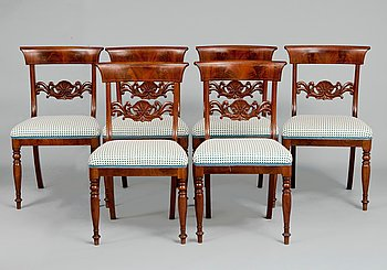 7. A SET OF SIX CHAIRS.