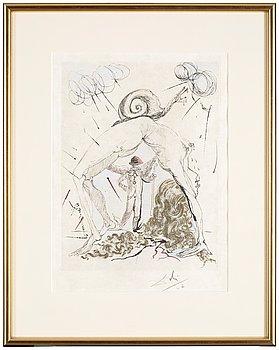 """128. SALVADOR DALÍ, """"Femme à l 'escargot"""" ur """"Poèms secrets d ' Apollinaire""""."""