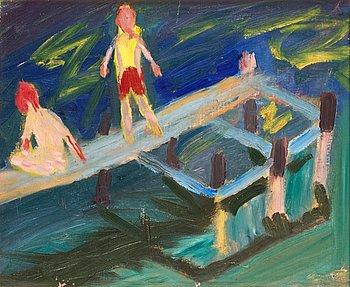 81. Ragnar Sandberg, Boys at the dock.