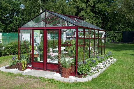 """Växthus, """"euro-serra maxi. skänkt av willab garden."""
