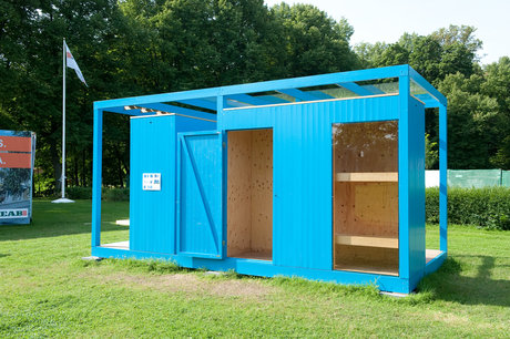 """Paviljong, """"blue boxes"""", arkitekter engstrand och speek ab. skänkt av peab bostad."""