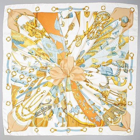 "A hermès silk scarf ""soleil de soie""."