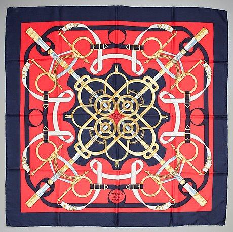 "A hermès silk scarf ""eperon d'or""."