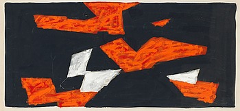 196. OLLE BONNIÉR, Composition in orange, black and white.