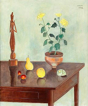 3. Einar Jolin, Still life with figurine and fruits.