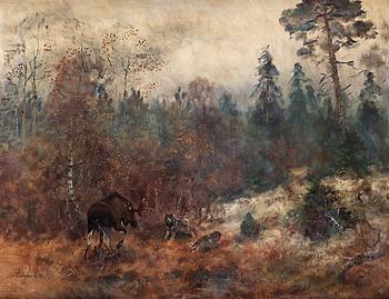 139. Lindorm Liljefors, Älgtjur och gråhundar.