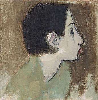 "235. HELENE SCHJERFBECK, ""Flickprofil i grön klänning"" (Girl profile in green dress)."