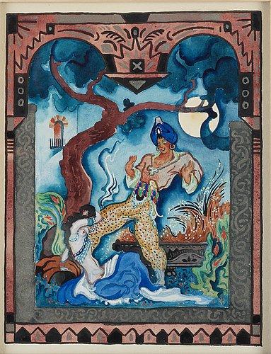 """Gösta adrian-nilsson, """"berättelsen om ghanem och kalifens älskarinna"""" (the story of ghanem and the mistress of the calif)."""