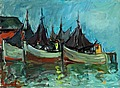 OLAVI LAINE, FISHING BOATS IN THE HARBOUR. ...