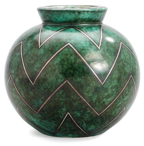 A wilhelm kåge 'argenta' stoneware vase, gustavsberg 1937.