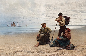 56. AUGUST HAGBORG, Conversation by the sea.