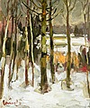 OLAVI LAINE, WINTER LANDSCAPE. Sign. Oil, 6...
