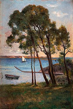 44. JOHAN ERICSON, Coastal view from Särö with sailboat.