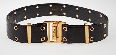 A black leather chanel belt, autumn 1996.