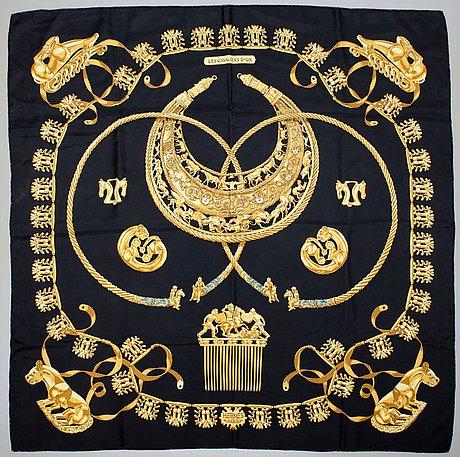 """A hermès silk scarf, """"les cavaliers d'or""""."""
