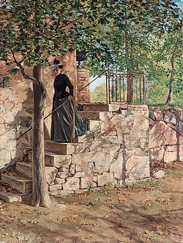 """47. ANSHELM SCHULTZBERG, """"Höstsol / Parkmotiv från Sparreholm"""" (Autumn sun / Park scene from Sparreholm)."""