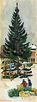 84. SVEN LJUNGBERG, The dressing of the Christmas tree, Ljungby torg.