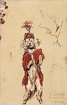 """55. Ernst Josephson, """"Hund"""" / """"Skiss för 'Ett resande teatersällskap' """" (Dog / Sketch for """"Ett resande teatersällskap"""")."""