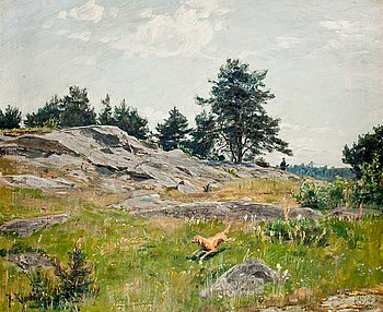 97. JOHAN KROUTHÉN, Summer landscape with hunter.