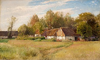 "75. GUSTAF RYDBERG, ""Bondgård i Falsterbo med blommande äng"" (Farm in Falsterbo with flowering meadow)."