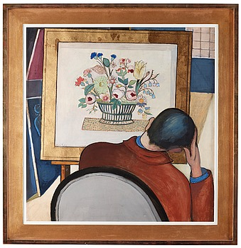 9. Leander Engström, Self-portrait by flower still life.