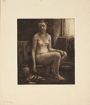 "AXEL FRIDELL, ""Sittande naken flicka"". Drypoint (I state of II), 1928-29, on Japan paper, signed ..."