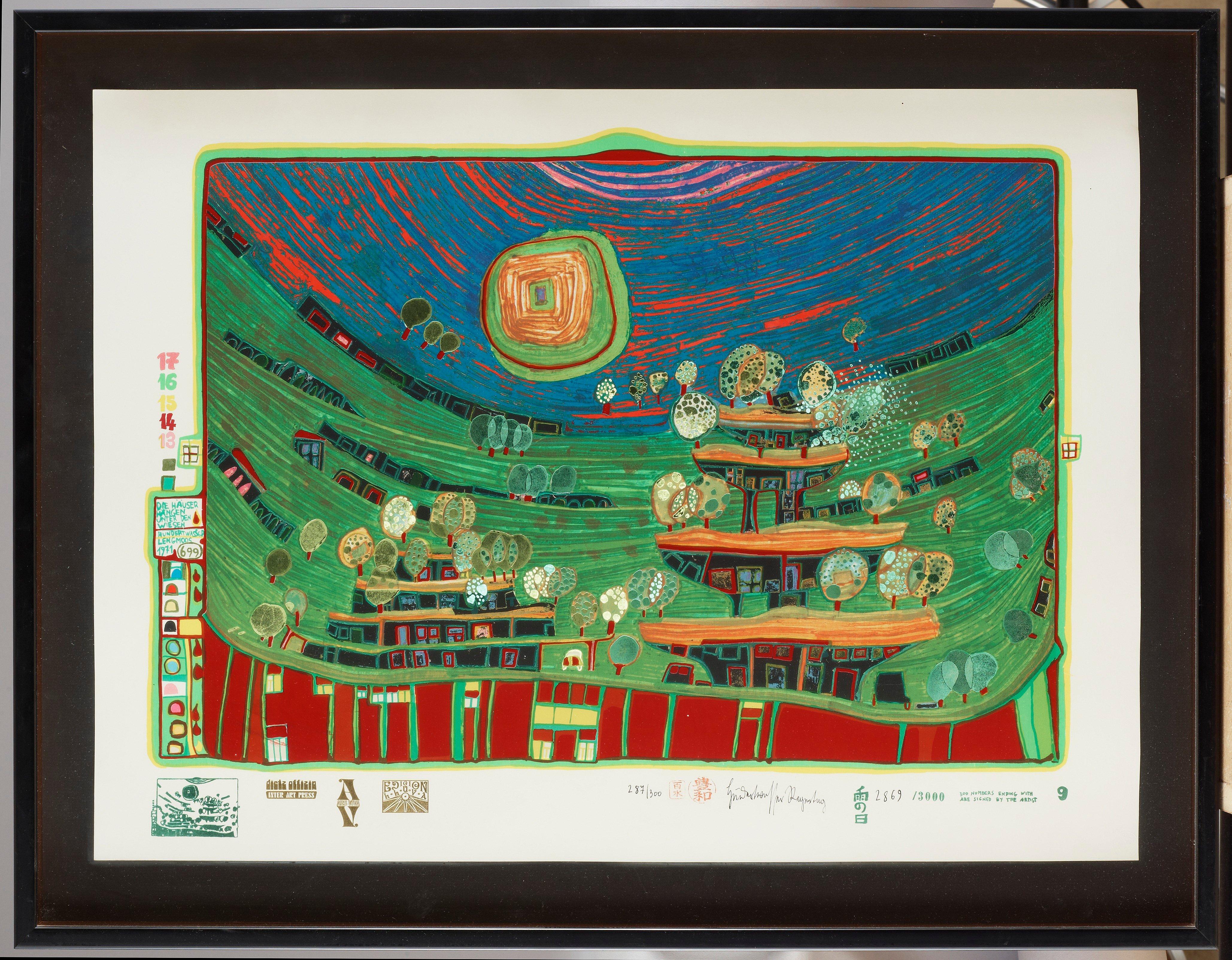 """Friedensreich Hundertwasser. (1928-2000). """"Look at it on a rainy day (The Regentag portfolio)"""""""