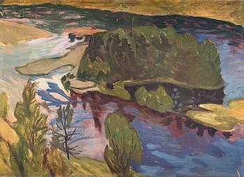 "17. HELMER OSSLUND, ""Niporna i Ångermanälven"" (Sandbanks in the Ångerman river)."