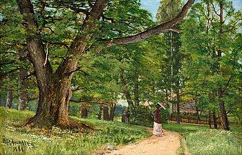 "69. Ivar Naumann, ""Flanörer i Frisens park vid Waldemarsudde"" (Strollers in Frisens park at Waldemarsudde)."