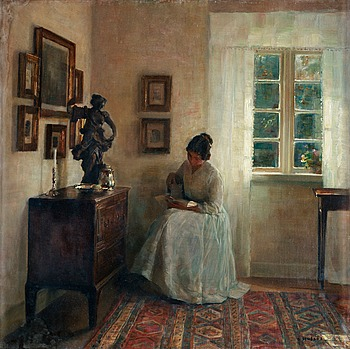 238. CARL HOLSOE, Interior with a reading lady.