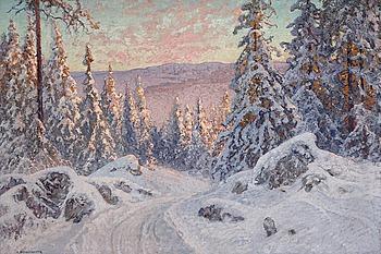"""82. Anshelm Schultzberg, """"Vinterafton"""", (Motif from Långlia, Storhöjden near Filipstad)."""