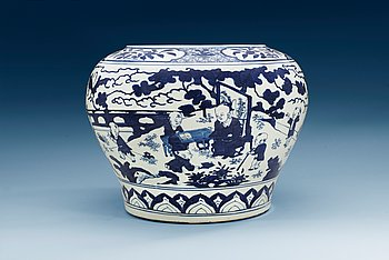 1652. A large blue and white 'boys' jar, Ming dynasty, Jiajing´s six characters mark and of the period (1522-1566).