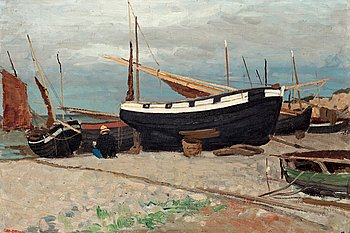 5. CARL SKÅNBERG, Boats on the shore, coastal scene from the north of France.