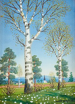 31. OSKAR BERGMAN, Birch grove in springtime.