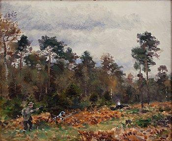 27. Lindorm Liljefors, Höstlandskap med jägare och hund.