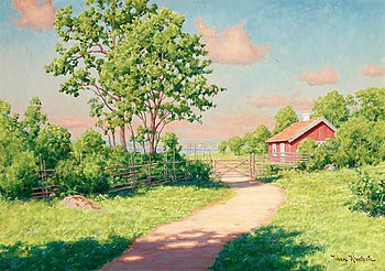 94. JOHAN KROUTHÉN, Landscape with a red cottage.