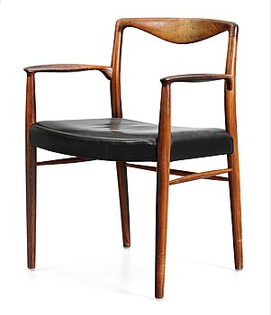 A Kai Lyngfeldt-Larsen, palisander chair with black leather upholstery by Søren Villadsen, Denmark, 1950's-60's.