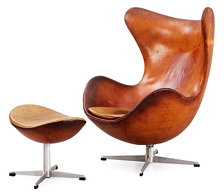 an arne jacobsen brown leather 39 egg chair 39 with ottoman. Black Bedroom Furniture Sets. Home Design Ideas